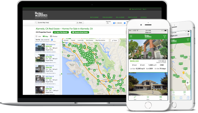Mobile devices showing Better Homes and Gardens search results